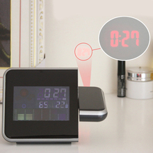 Hot Sale Two Time Modes Digital LCD LED Projector Alarm Clock Weather Station Thermometer Calendar with Humidity Function(China)