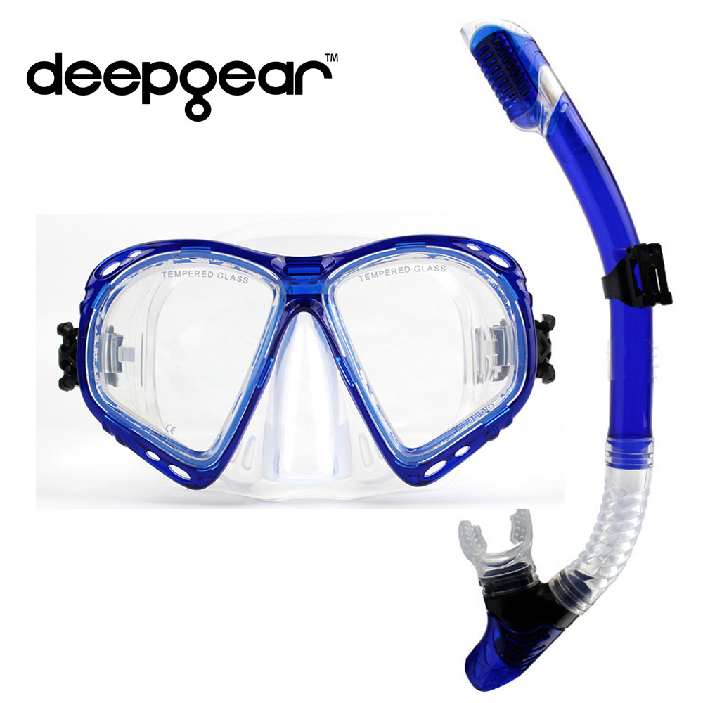DEEPGEAR Nearsighted divers scuba diving mask and snorkel gear Tempered glass lens low volume scuba mask Full dry snorkel set<br>
