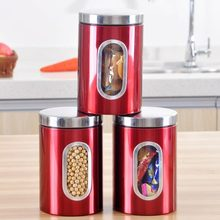 3pcs Stainless Steel Window Canister Tea Coffee Sugar Nuts Jar Storage Candy Storage Jar Tea Canister spices storage box Red E#C