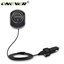 Onever FM Transmitter Bluetooth Car FM Modulator Handsfree Car Kit Support Siri MP3 Music Audio Player with AUX Out Cable(China)