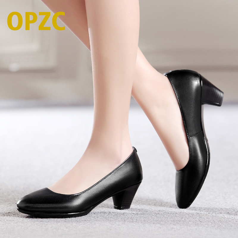 OPZC New Womens LowHeels Pumps Fashion Party Thick Heel Round Toe leather spring/fall Shoes Classic black for office lady Women<br>