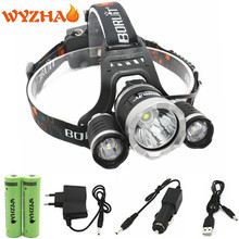 Head lamp RJ5000 Lamp 3 L2 LED 13600 lumens Head light headLamp headlight floodlight+18650 battery+Car charger+USB+Charger