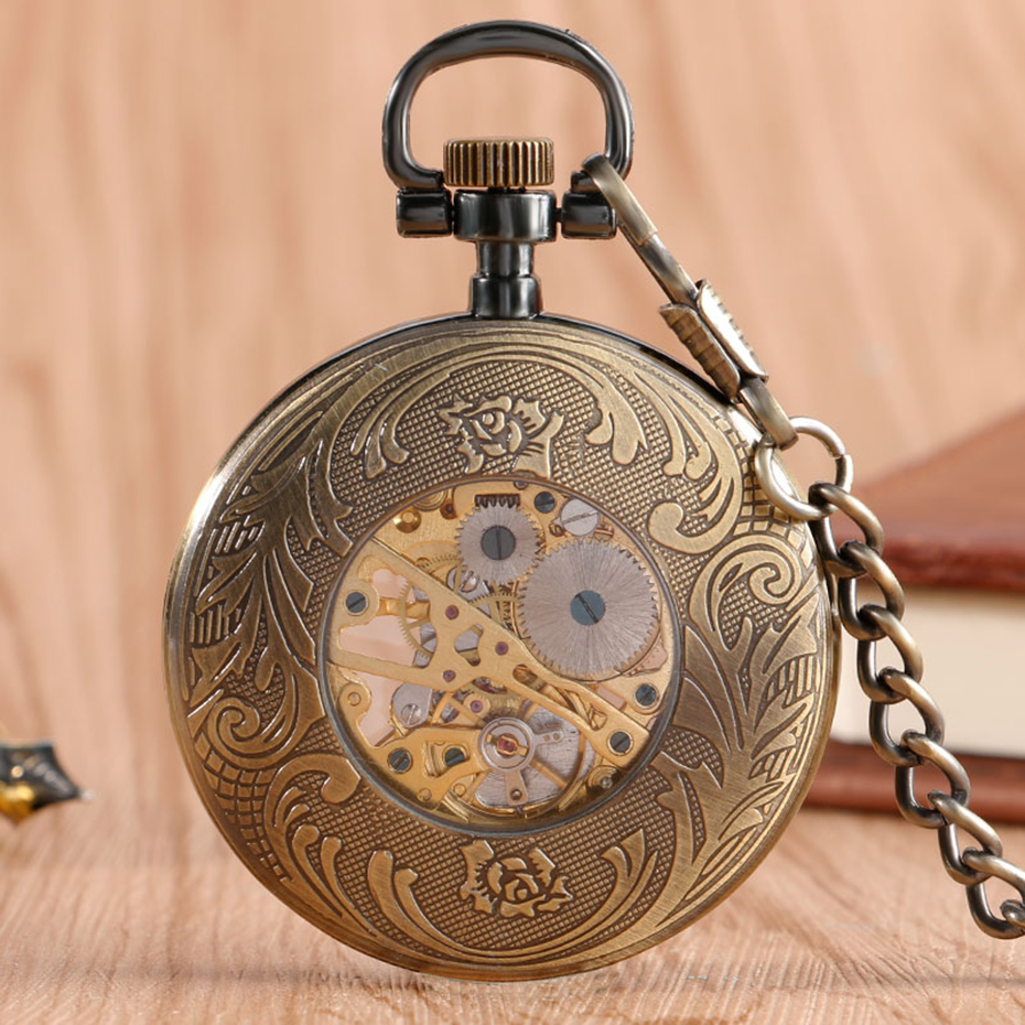Bronze Mechanical Pocket Watch Open Face Tree Pattern Roman Numbers Clock Hand Winding Fob Watches Men Gift  (1)