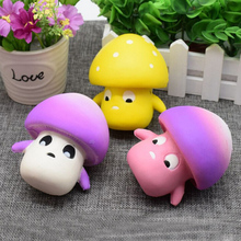2017 Hot Selling 9CM Mini Cute Mushroom Gags Jokes Toy Squishy Phone Straps Slow Rising Relieve Anti Stress Reduce Autism Kids(China)