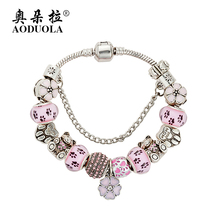 AODUOLA Fashion Jewelry Teddy Bear Charm Bracelets & Bangles For Women Pink Crystal Beads fit Pan Bracelet Pulsera Gift  B16017