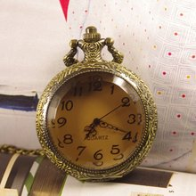 2015 Free shipping hot sale wholesale ladies mens New Antique Bronze Dark Brown Crystal Pocket Watch wp097(China)