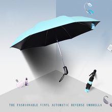 2017 New Black Coating Umbrella Fashion Color Umbrella Rain Women 3 Folding Sunny Automatic Car Men Umbrellas