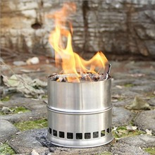 Stainless Wood Burning Outdoor Camp Picnic Cook Charbroiler Solid Alcohol Stove
