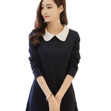 Women's Long Sleeve Dress Peter Pan Collar Dress A-line dress Cute Knee-length Dress Vestidos 2017 Spring Autumn(China)