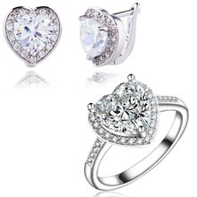Yunkingdom Love Heart Wedding Jewelry Sets white Gold Color Clear Cubic Zirconia Fashion Earrings Rings For Women