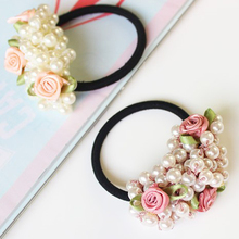1Pc Flower Beaded Pearl Headband Rubber Hairband Elastic Hair Bands for Girls Hair Ropes Ponytail Holder Hair Accessories Women