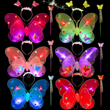 Three-piece Four LED Lights Double Wings Butterfly Party Cosplay Costume Halloween Perform Game COS Show Suit Children's Props