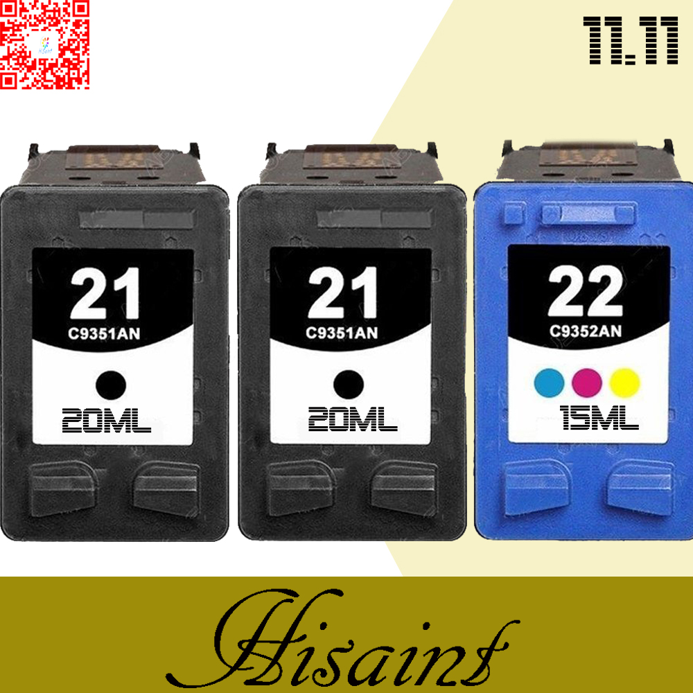 3PK  for hp21 &amp; 22 Ink Cartridge For DESKJET 3910 3920 D1311D1320 D1330 D1341 D1360 Cartridge for your printer for hp 21 and 22<br><br>Aliexpress