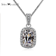 Handmade Jewelry SHIPEI Fashion CZ Necklace in Plated White Gold with AAA Imitation Round Diamonds,Carat Total Weight 1.88(China)