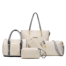 5pcs Women Bag Set European & Amiercan Alligator Leather Women Totes Patchwork Fashion Women Boston Bag + Purse