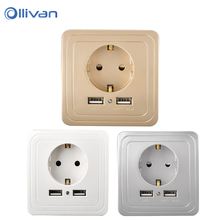 Ollivan EU Standard 5V USB Wall Socket EU Dual USB Port 2A Wall Charger Adapter EU Plug Socket With usb electrical outlet Panel(China)