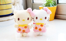 super cute mix colors plush stuffed hello kitty Toy , rope pendant 10CM gift wedding bouquet plush Toy doll
