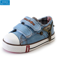 Canvas Children Shoes Boys Sneakers Brand Kids Shoes for Girls Baby Jeans Denim Flat shoes eur 19-37 Classic child canvas shoes(China)