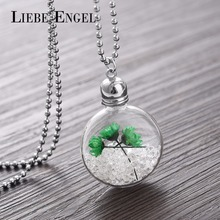 LIEBE ENGEL 2017 Newest Dried Flower Pendant Necklace Silver Chains for Men Women Jewelry Fashion Glass Accessories