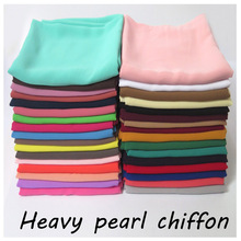 Hijab Scarf Shawl Headband Pearl Heavy-Fabric Bubble Chiffon Muslim Plain-Color High-Quality