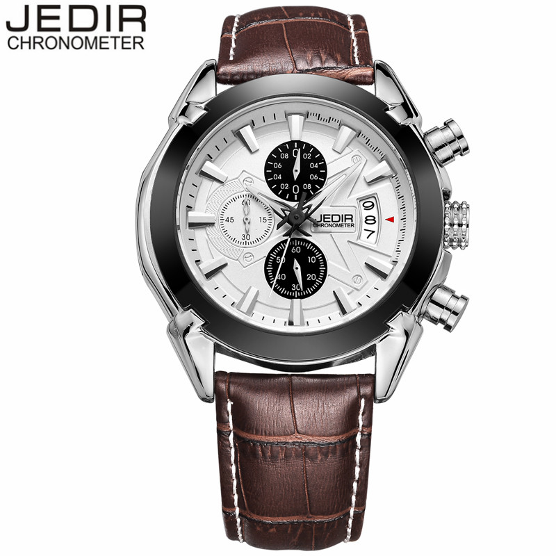 JEDIR Mens Watches Top Brand Luxury Chronograph Luminous Quartz Watch Men Sport Waterproof Leather Wristwatch relogio masculino<br><br>Aliexpress