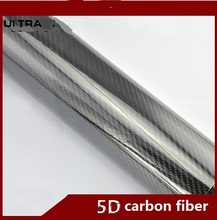 5D High Glossy Carbon Fiber 400mm x 1520mm Vinyl Black Wrap Sheet Bubble Air Free Film Cover Protection