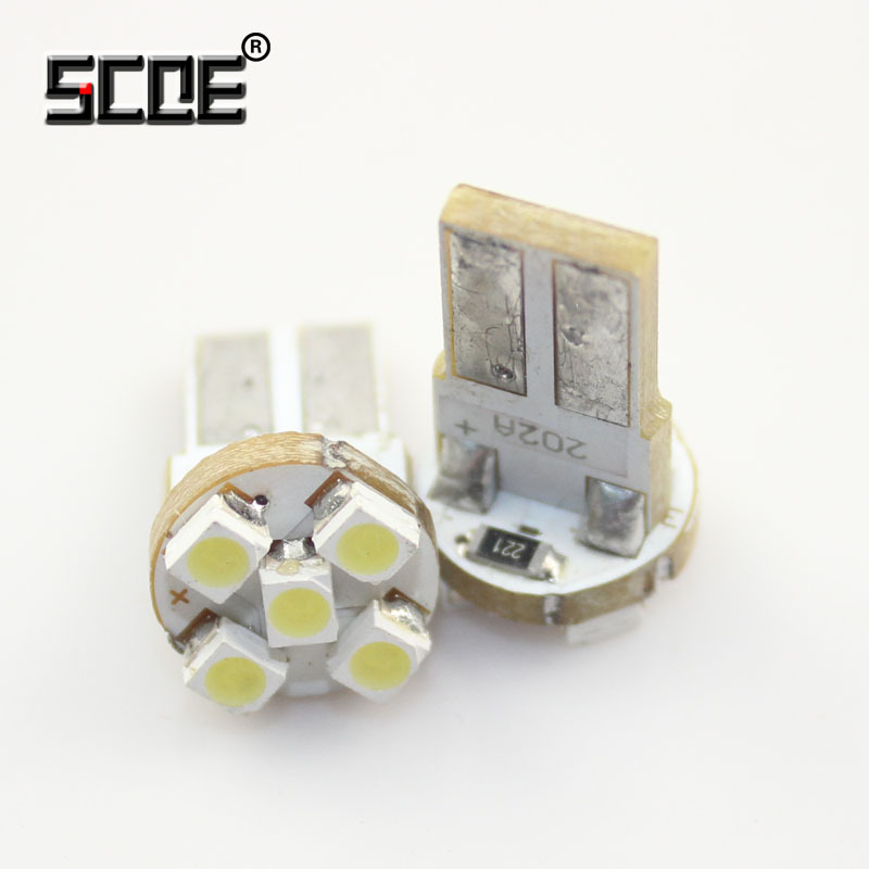 SCOE 2x T10 W5W 5SMD DC12V Car Styling LED Reading License Plate Light Lamp Bulb Crystal Blue Green Red Yellow Purple Warm White<br><br>Aliexpress