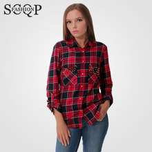 Plaid Rivet Long Sleeve Loose Woman Blouses Spring Brand New Cotton Blouse Turn-down Collar Woman Top Red Ladies Shirts WSH078