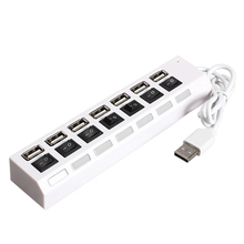 New Generic 7-Port USB 2.0 Hub High Speed USB Hub Sharing Switch for PC Laptop with LED Indicator Lights