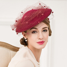 Aristocratic Hats For ladies Wine Red Wedding Veil Hats Vintage Wool Felt Woman Hat
