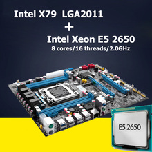 HUANAN X79 LGA 2011 motherboard CPU combos Intel X79 motherboard with CPU Xeon E5 2650 revision 2.47 4 channel RAM CrossFire