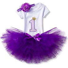 2017 Fashion Girls Clothes 1 Year Birthday Party Set Baby Clothing Children Outfit Romper+Skirt+headband Suits Costume For Kids(China)