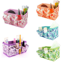 2016 New Makeup Cosmetic Storage Multifunction Box Bag Bright Organiser Printing Flower Foldable Stationary Container