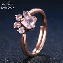 LAMOON Shadow Bear's Paw 5mm Natural Pink Rose Quartz Ring 925 Sterling Silver Jewelry Rose Gold Romantic Wedding Bands Rings