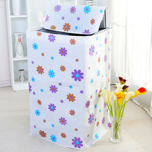 PEVA Floral Washing Machine Cloth Dust Cover Waterproof Sunscreen Washing Machine Protective Cover Case Zipper Automatic Roller(China)