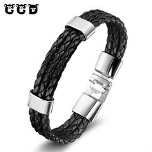 Buy 2017 NEW Fashion Genuine Cow Leather Bracelets Men Women Punk Vintage Stainless Steel Charm Bracelets Bangles Jewelry Gift for $1.76 in AliExpress store