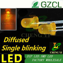 Orange single blinking led 3mm round light diode 600-610nm diffused dip led 90times/min flash led bulb