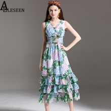 Sleeveless Print Dresses Summer Dresses 2017 Beautiful Hydrangea Print Green Bow Collar Beach Mid-Calf V-Neck Chiffon Dress