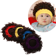 Novelty Kids Wig Hat Party Cosplay Accessories Photography Props Boy Girl Winter Afro Wig Cap Knitted Big Hair Curly Cap 1-6Yrs