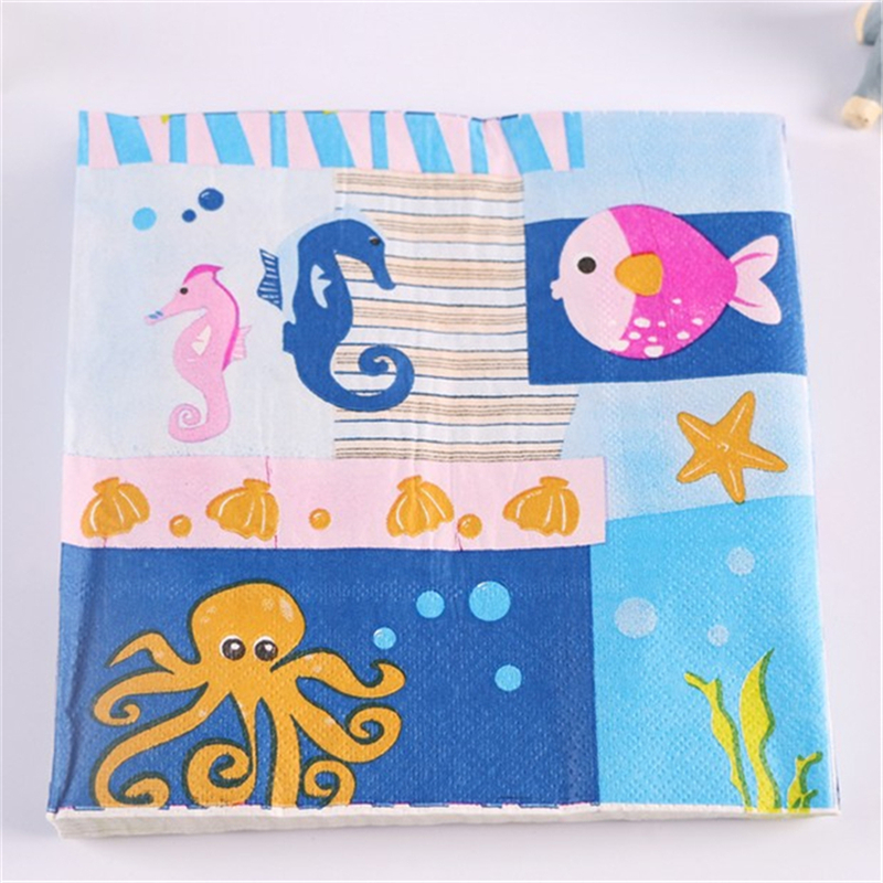 60pcs 2 Layer Casamento Underwater World Wedding Paper Napkins For Party Home Decoration Fiestas