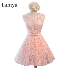 Lamya Sexy Open Back Ribbon Lace Prom Dresses 2017 Vintage Pink Party Dress Real Photos Plus Size Tulle Ball Gown