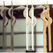 Gold Silver Gunmetal Colors S shaped Bohemia Earrings Fashion Jewelry Tassle Earrings For DIY Women Birthday Gift