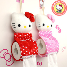 Hello kitty Creative towel sets Plush Fabric Tissue Box Cartoon hanging toilet tissue pumping