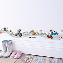 30x60cm New Brand 2017 DIY Cute Mic Sticker Lovely Mouse Race Track Wall Decal PVC Mural For Kids Room Decor