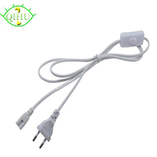 T5 T8 LED Tube Wire Connector With Switch Power Cord Extension Cord 3 pin LED lamp light port EU Plug Cable 1.5M(China)