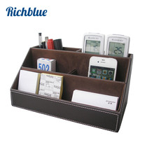 PU Leather Desktop Organizer Stationery Storage Box Pen Pencils Holder Remote Control Case Container Box(China)