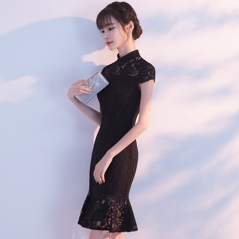 Black Lace Cheongsam Fashion Korean Women Traditional Chinese Wedding Dress Sexy Qipao Mini Short Qi Pao Oriental Style Dresses