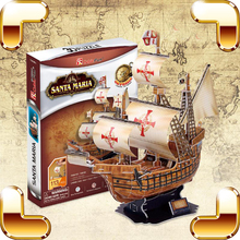 New Cool Gift Santa Maria 3D Puzzles Model Ship DIY Build Kits History Boat Education Toys House Decoration Boys Learning Game