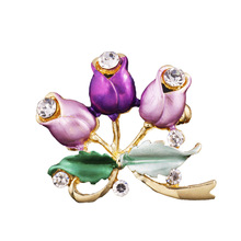 Brooches Broche Pin 2017 Ruili Magazine Korean Version Of The Painting Three Roses Blooming Brooch Manufacturers Supply For