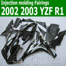 100% Injection molding motorcycle fairings for YAMAHA  fairing kit 2002 2003 all black YZF R1 02 03 JK32 +7 gifts
